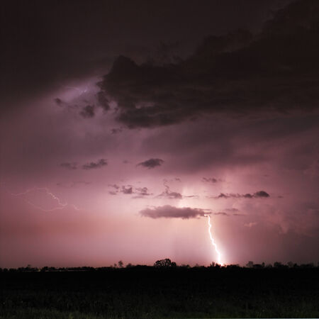 Lightning bolts and storm photo