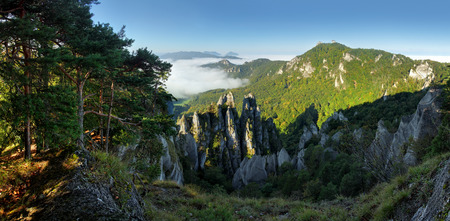 Sunrine autumn landscape in Slovakia rock, Sulov photo