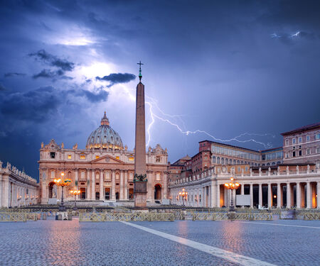st  peter's basilica pope: Vatican, Rome with  lightning