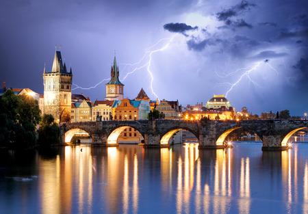 Prague bridge at storm Stock Photo - 33133094