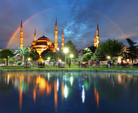 istanbul night: Istanbul with rainbow - Blue mosque, Turkey