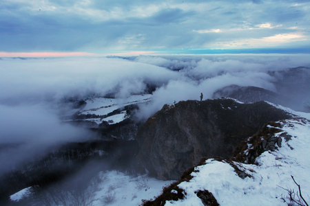 nirvana: Mist and cloudy mountain at winter