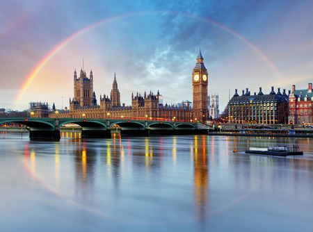 london big ben: London with rainbow - Houses of parliament - Big ben.