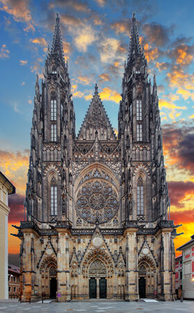 prague castle: Front view of the main entrance to the St. Vitus cathedral in Prague Castle in Prague, Czech Republic