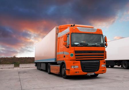 semi truck: Truck at sunet