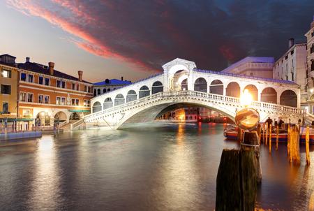 rialto bridge: Venice - Rialto bridge and Grand Canal Stock Photo