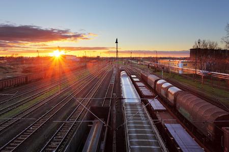 railroad station platform: Train freight - Cargo railroad industry