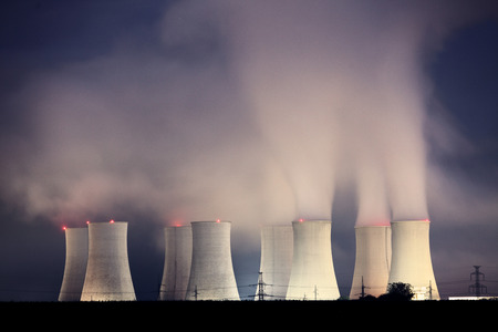 nuclear plant: Nuclear power plant by night