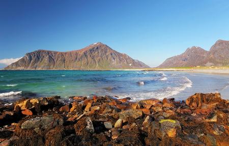 berm: Beach on Lofoten islands in Norway Stock Photo