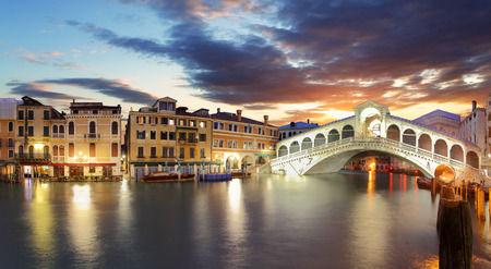rialto bridge: Venice - Rialto bridge and Grand Canal Stock Photo