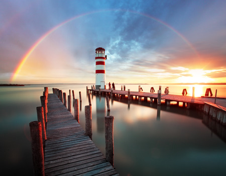 rainbow clouds: Lighthouse at Lake Neusiedl - Austria