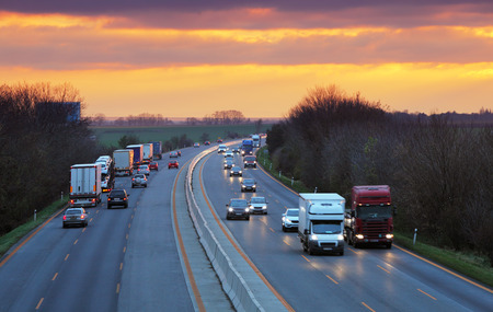 truck on highway: Trucks on highway, Traffic Stock Photo