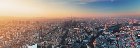 aerial view city: Panorama of Paris at sunset