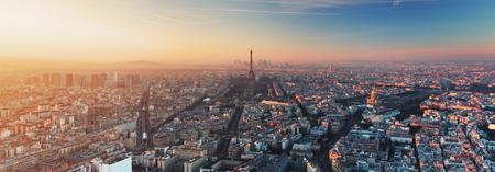 aerial city: Panorama of Paris at sunset