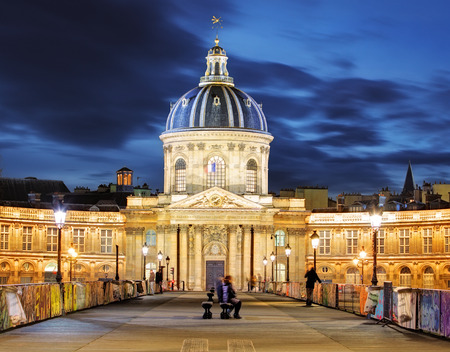 popular science: French Institute (Institute de France) at night, Paris