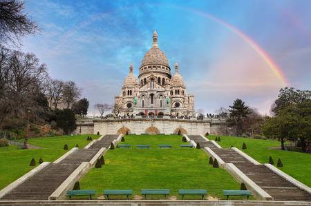 coeur: Sacre Coeur Basilica of Montmartre in Paris, France