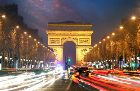 charles de gaulle: Champs elysees and Arc de Triumph, Paris Stock Photo