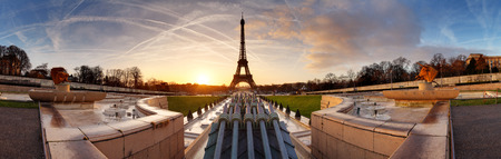panorama: Panorama of Paris at sunrise with Eiffel tower