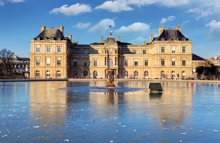 du: Luxembourg Palace in Jardin du Luxembourg, Paris, France Editorial