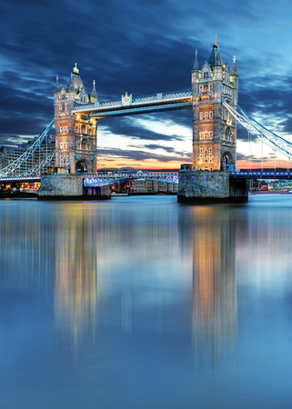 thames: Tower Bridge in London, UK, by night