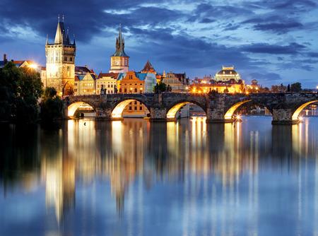 Prague bridge at night