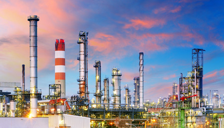 industries: Petrochemical plant at night, oil and gas industrial