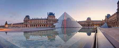 louvre pyramid: Paris, France - February 9, 2015: The Louvre Museum is one of the world
