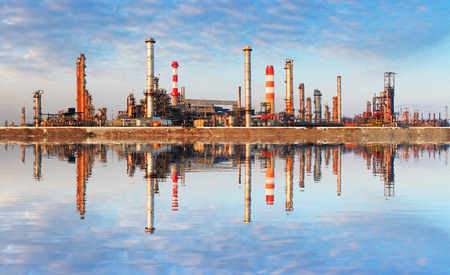 polluting: Oil Industry - Factory with reflection in water