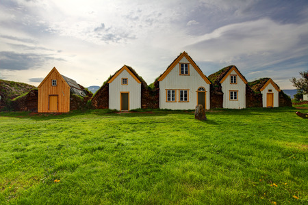 Lawn covering housee, iceland original buildings Stok Fotoğraf