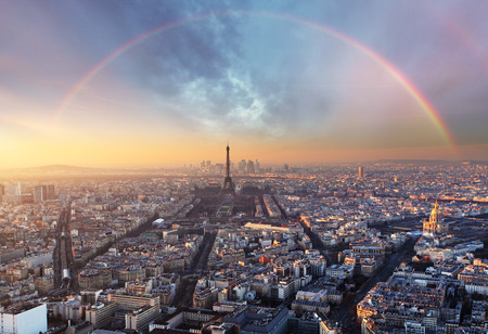 aerial view city: Paris with rainbow - skyline