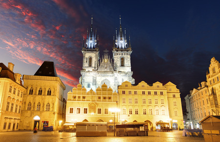 tyn: Prague Old town square, Tyn Cathedral Stock Photo