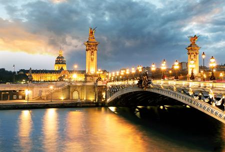 alexander: Paris bridge Alexandre 3, III and Seine river Stock Photo