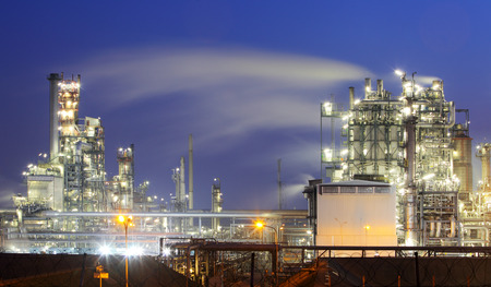 oil and gas industry: Oil and gas industry - refinery at twilight - factory - petrochemical plant Stock Photo