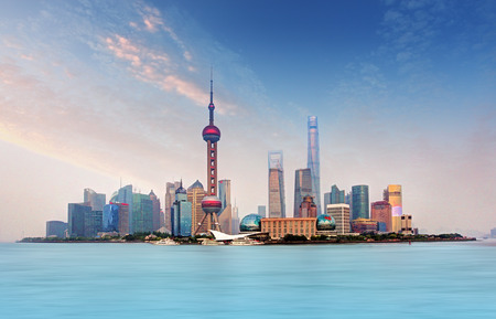shanghai skyline: Shanghai skyline - cityscape, China Stock Photo