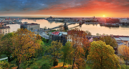 dramatic sunrise: Budapest cityscape at sunrise panorama of Hungary Stock Photo
