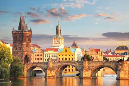 Prague  Charles bridge Czech Republic 스톡 콘텐츠