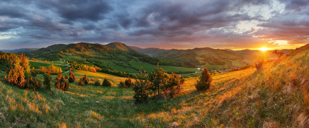 views of the mountains: Slovakia Mountain meadow sunset panorama