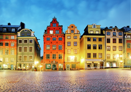 Old houses on Stortorget square at night. Stockholm Sweden 스톡 콘텐츠