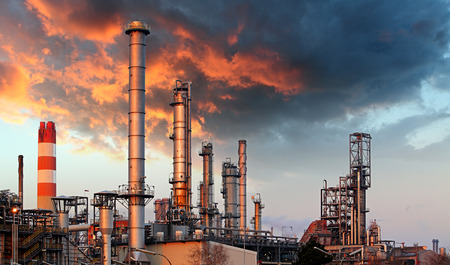 or color: Oil refinery at twilight