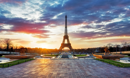 towers: Sunrise in Paris with  Eiffel Tower Stock Photo