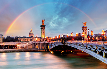 rainbow bridge: Rainbow over Alexandre III Bridge Paris France