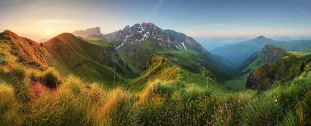 fall sunrise: Mountain sunrise panorama in Dolomites Passo Giau