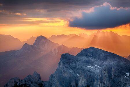rays: Sun rays, sunlight on mountain, Alp Stock Photo