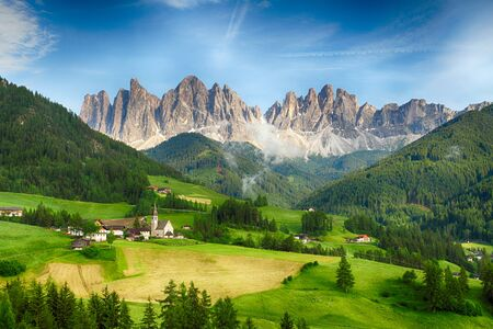 odle: Countryside view of  Santa Maddalena in National Park Puez Odle or Geisler summits. Dolomites, South Tyrol. Location Bolzano, Italy, Europe.