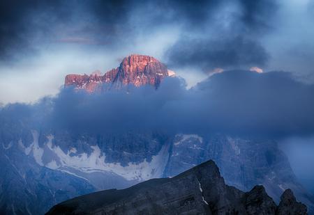 evening glow: Evening Glow over Mt. Pelmo and Mt. Civetta, Dolomites, Italy Stock Photo