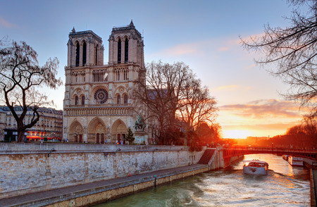 notre dame cathedral: Paris - Notre Dame at sunrise, France Editorial