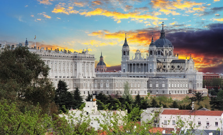 real madrid: Madrid,  Almudena Cathedral and Royal Palace - Spain.
