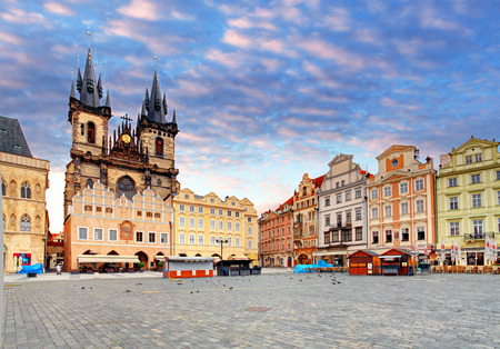 the old town hall: Prague Old town square, Tyn Cathedral Editorial
