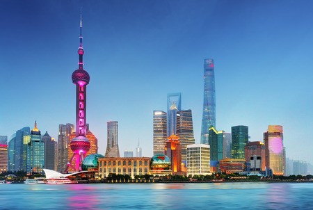 shanghai pudong skyline: Shangahi skyline, China. Stock Photo