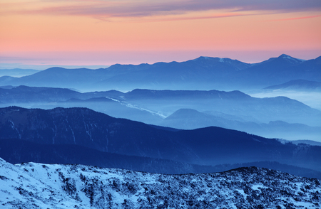 tatras: Sunset over color mountain silhouette.